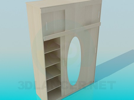 3d model Wardrobe with an upper shelf for hallway - preview