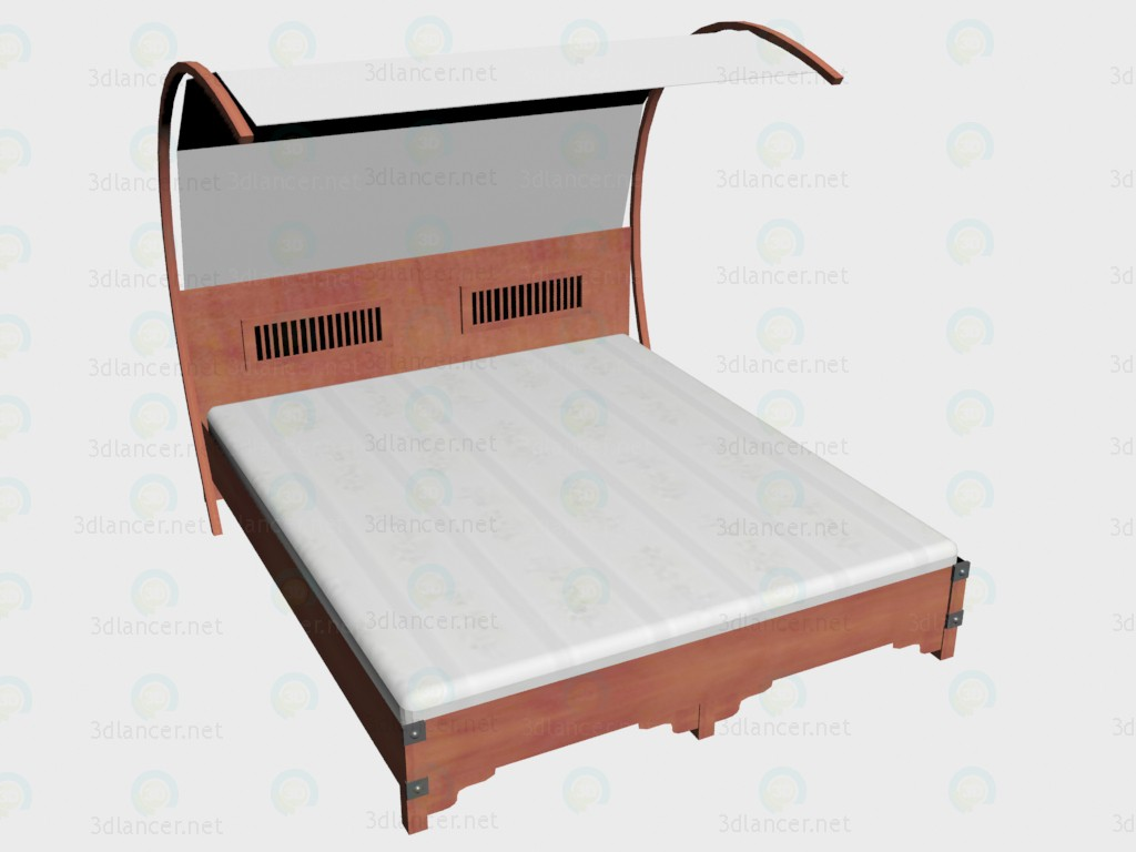 3d моделирование Кровать 2-местная 180х220 + балдахин модель скачать бесплатно