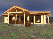 Casa de madera con piedra