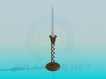 3d modeling A candle in a candleholder model free download