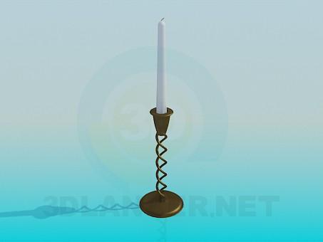 3D Modell Eine Kerze in einen Kerzenhalter - Vorschau