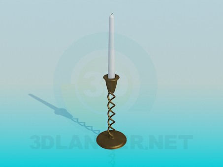 3d model A candle in a candleholder - preview