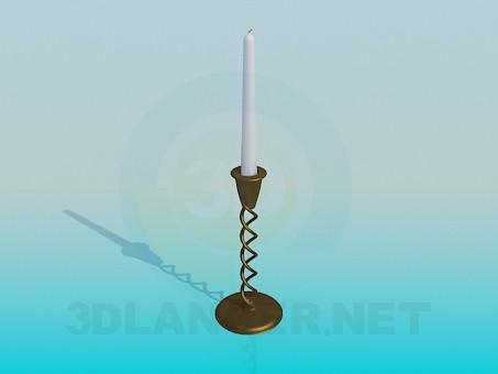 modelo 3D Una vela en un candelero - escuchar