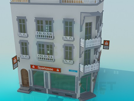 3d model Angular three-storey building - preview