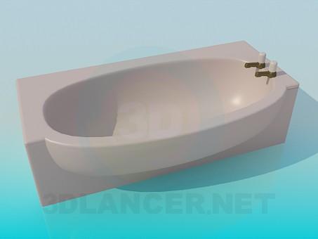 3d модель Бежевая ванна – превью