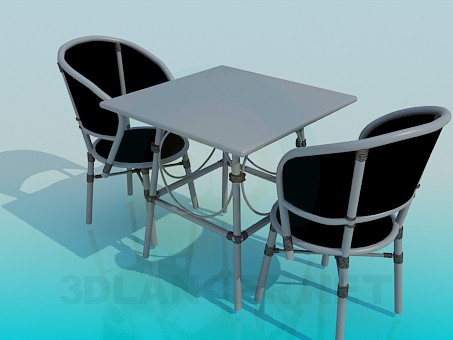 3d modeling Table and chairs in the set model free download