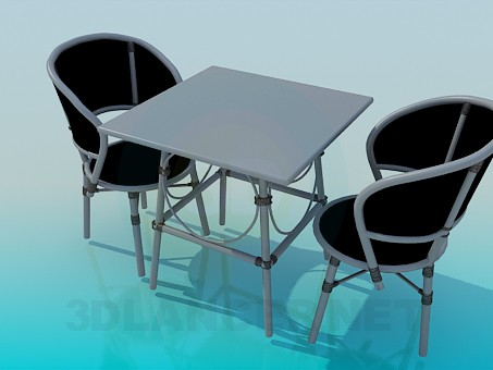 3d model Table and chairs in the set - preview