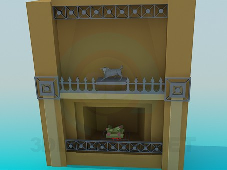 3d modeling Fireplace with iron decor model free download