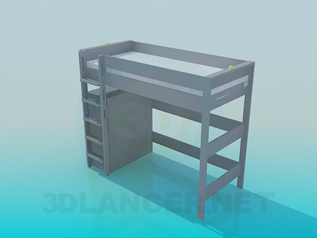 3d modeling Bed with stairs and shelves model free download