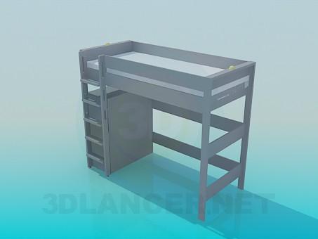 3d модель Кровать с лестницей и полками – превью