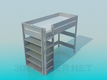 3d model Bed with stairs and shelves - preview