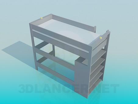 3d модель Ліжко з драбиною і полицями – превью