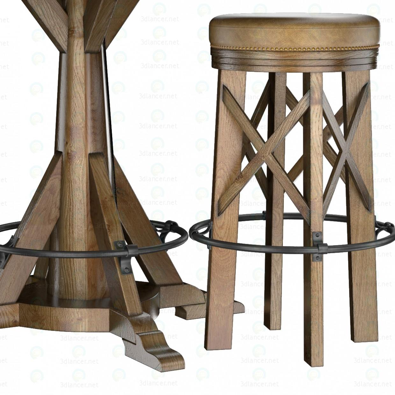 3d Коллекция HUNTINGDON стол и барный стул модель купить - ракурс