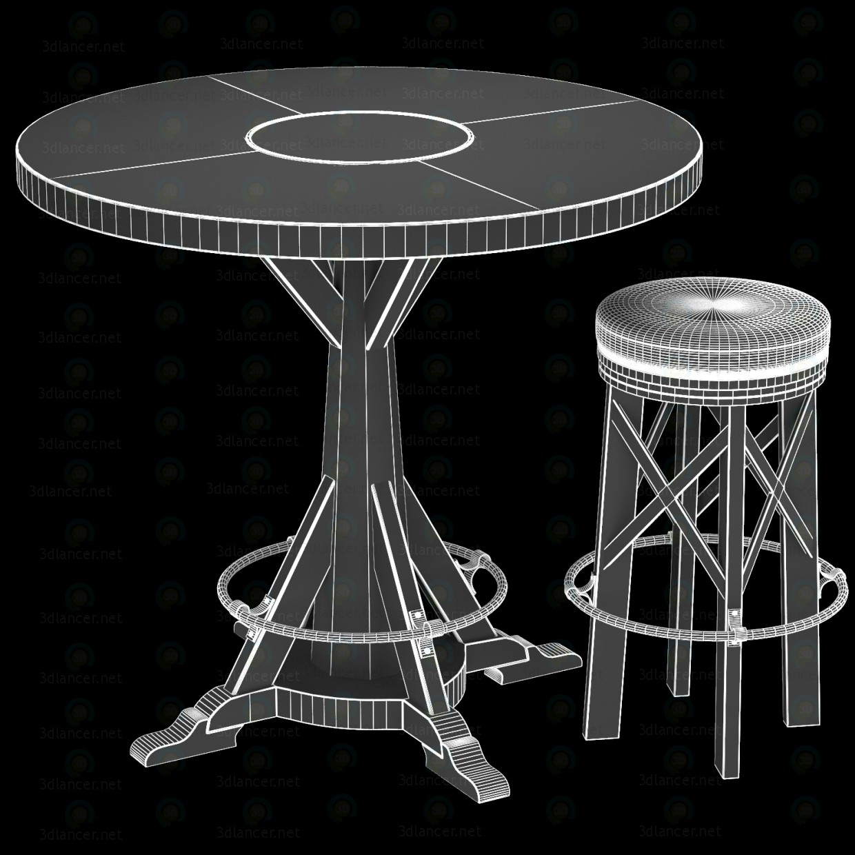 3d HUNTINGDON COLLECTION table and bar stool model buy - render