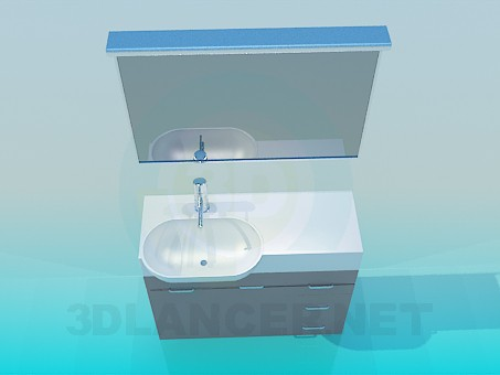 3d model Washbasin with pedestal - preview