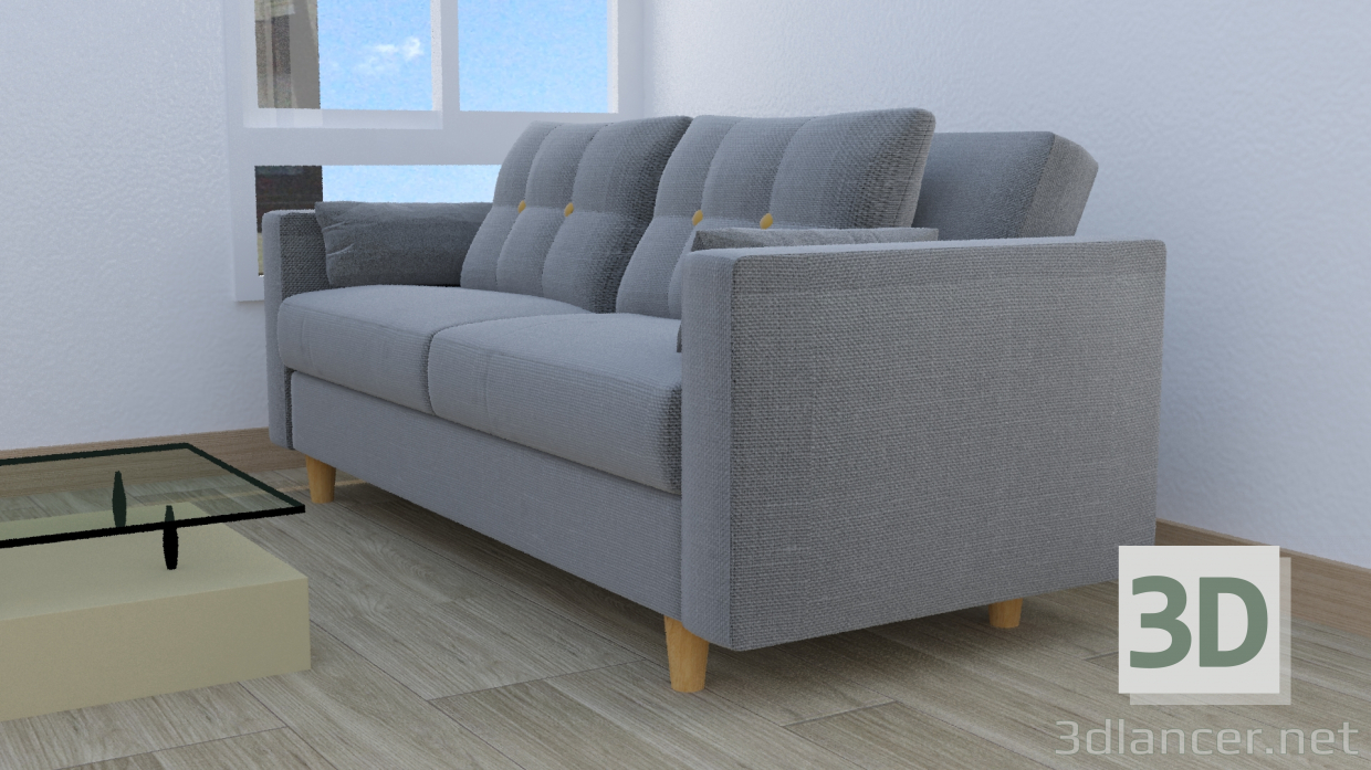 3d model gray fabric armchair - preview
