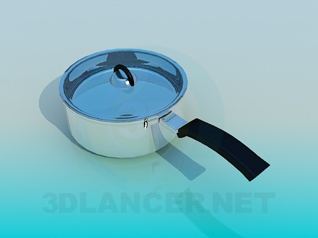 3d model Saucepan with one handle - preview