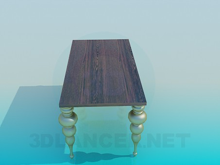 3d model Table with scalloped legs - preview
