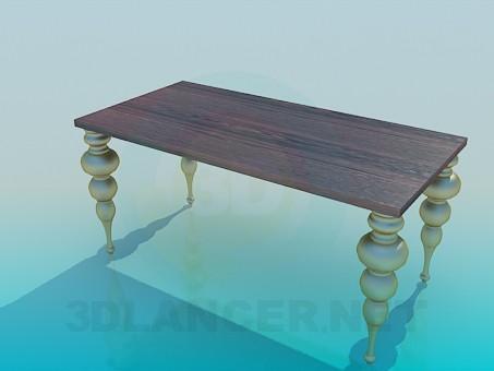 modelo 3D Mesa con patas de festoneado - escuchar
