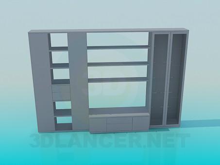3d моделирование Шкаф с открытыми полками модель скачать бесплатно