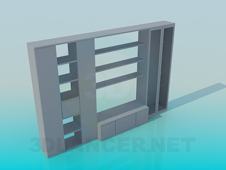 3d модель Шкаф с открытыми полками – превью