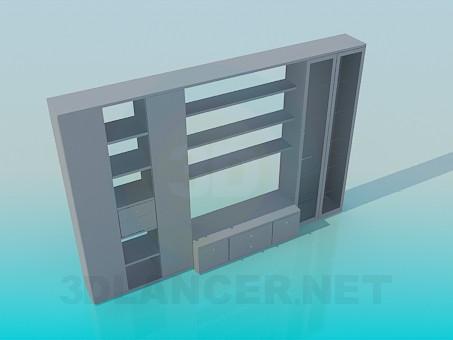 3d модель Шафа з відкритими полицями – превью