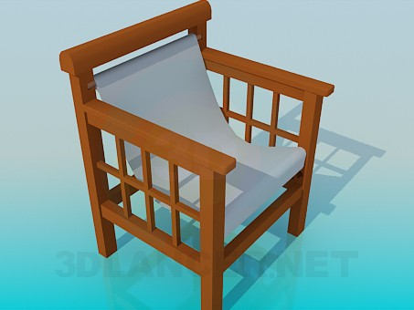 3d model Wooden chair with a textile seat - preview