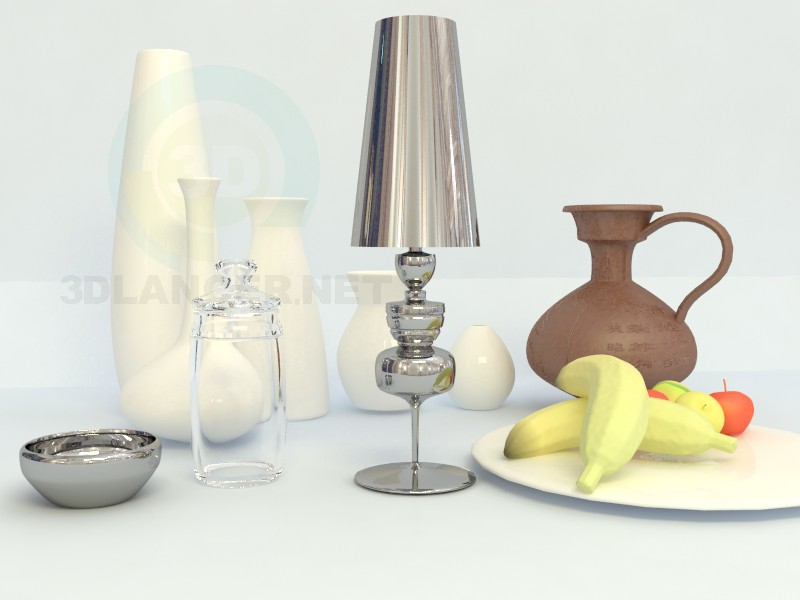 3d model Glass, metalic containers and jug - preview