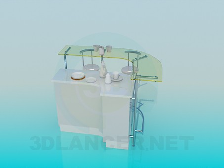 3d model Bar counter in the kitchen - preview
