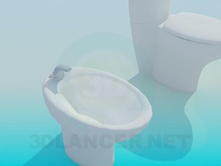 modelo 3D Kit de bidé y WC - escuchar