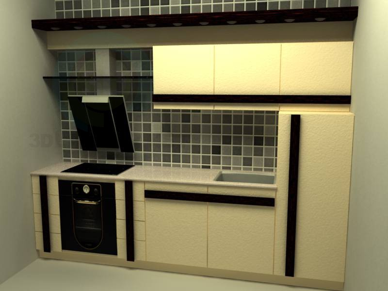 3d model Kitchen in a line - preview