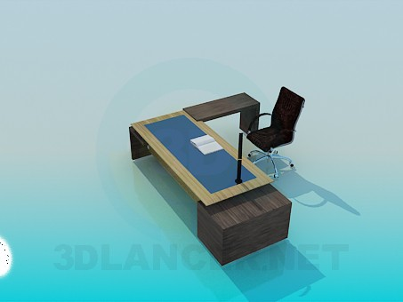 3d modeling Desk and chair model free download