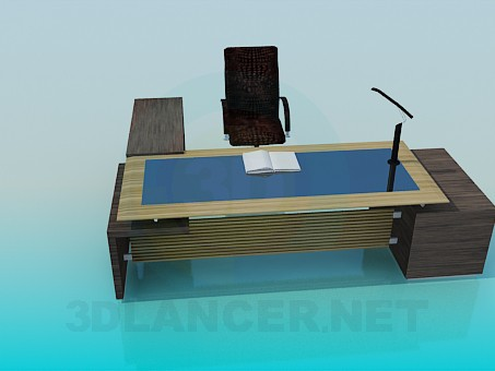 3d model Desk and chair - preview