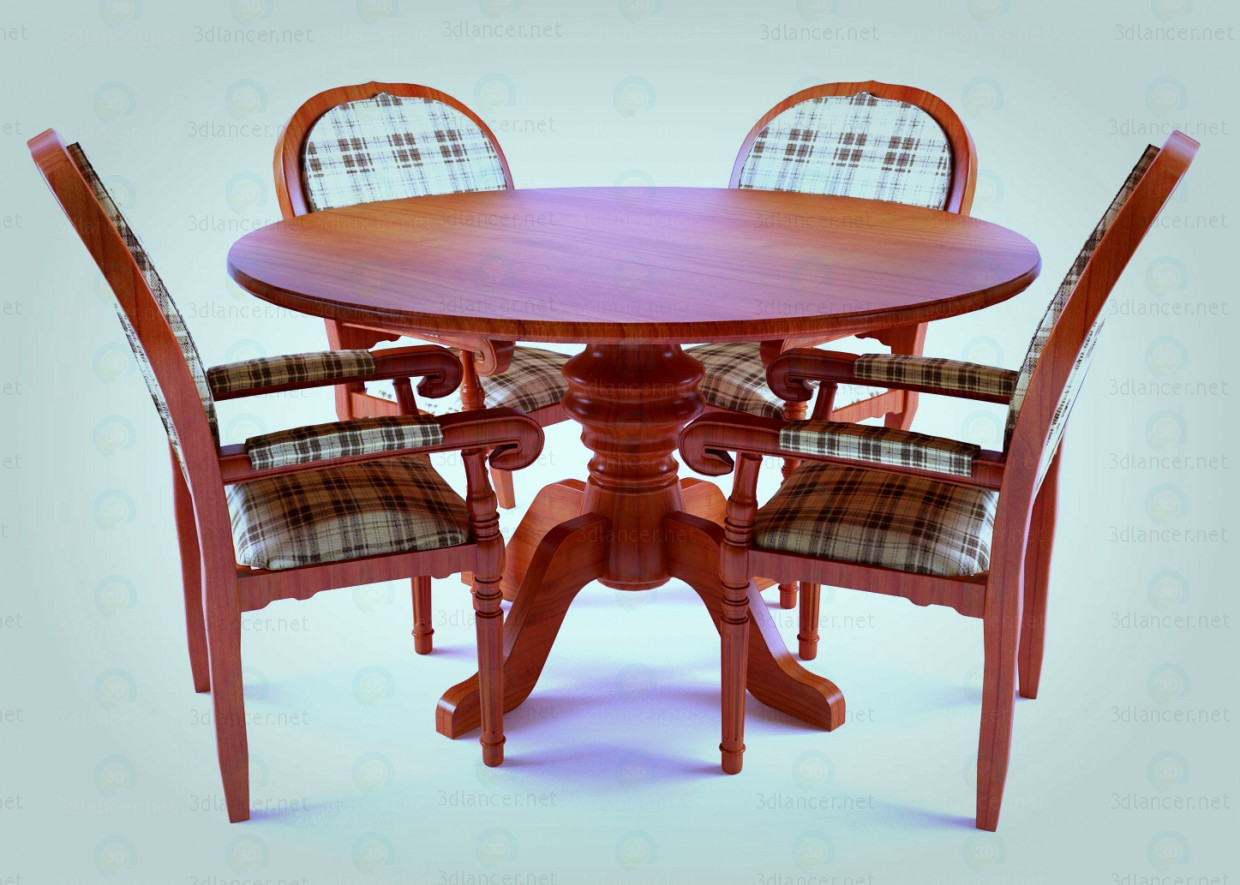 3d model table and chairs by zeggos - preview