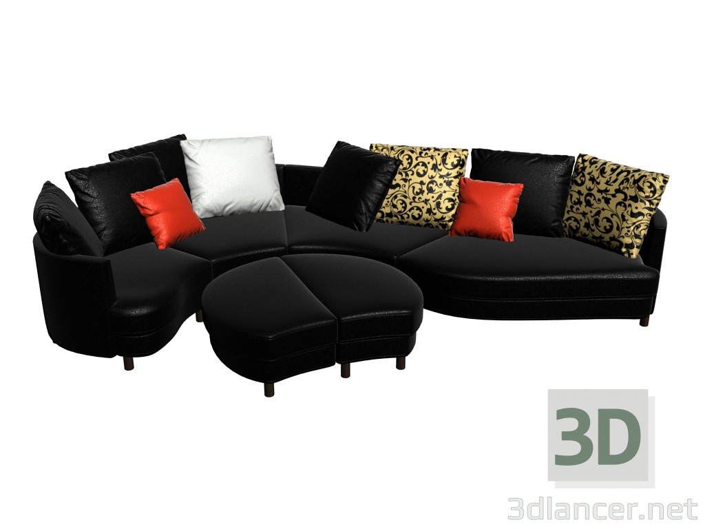 3d model modular sofa 4500 manufacturer rolf benz id 14818. Black Bedroom Furniture Sets. Home Design Ideas
