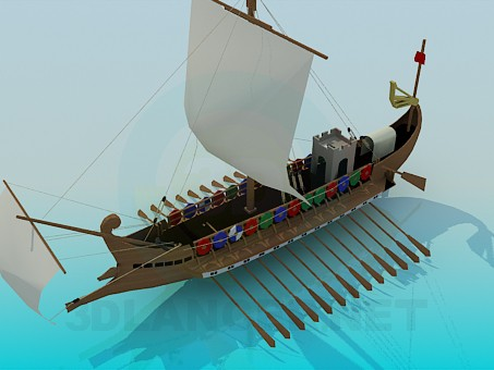 3d model Viking ship - preview