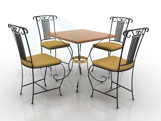 3d model Table and four chairs - preview