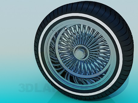 3d modeling Tire and wheel model free download