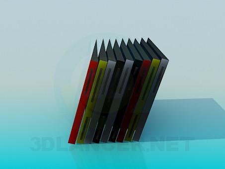 3d model Libros en un estante - vista previa