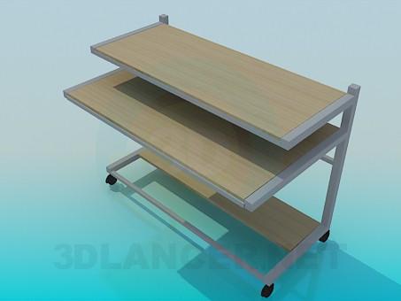 3d модель Пересувний комп'ютерний стіл – превью
