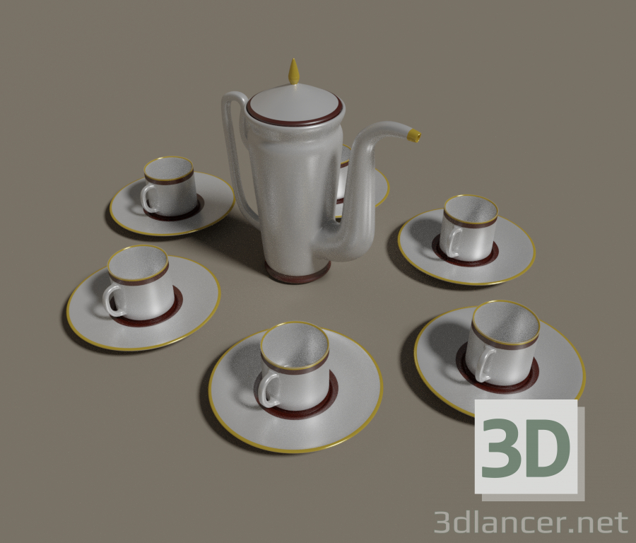 3d model Coffee pot for six people, blender, - Free Download