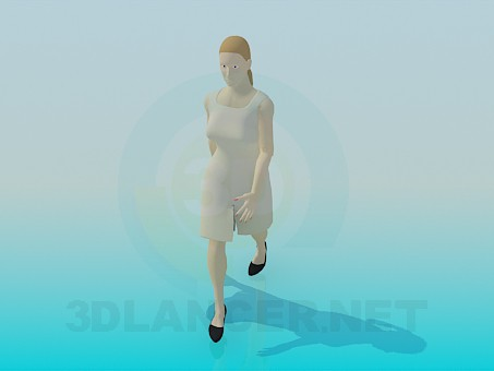 modelo 3D Una mujer en vestido - escuchar