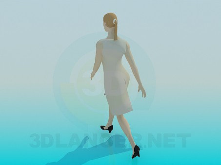 3d model A woman in dress - preview