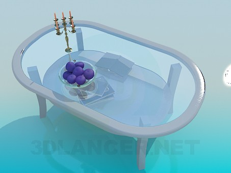 3d model Dining glass table - preview