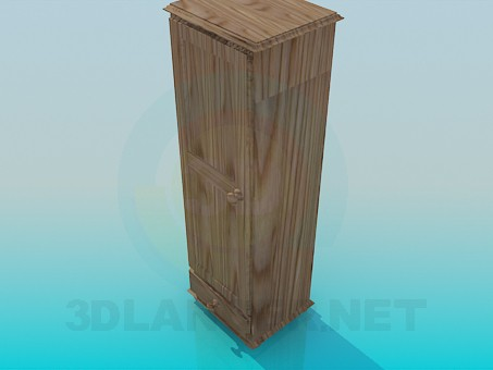 3d model The narrow wooden cabinet - preview