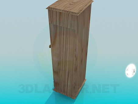 3d модель Вузький дерев'яна шафа – превью