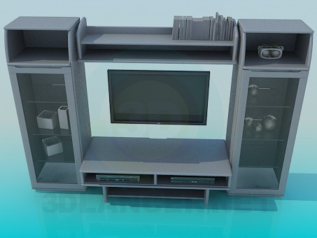 3d model The furniture in the living room for TV - preview