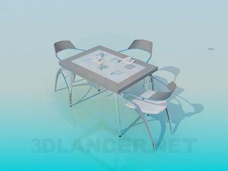 3D modeli Masa ve sandalyeler - önizleme
