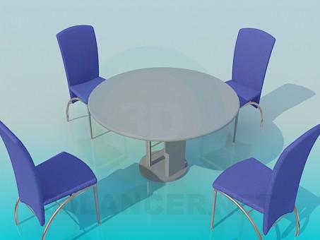 3d моделювання Столик зі стільцями в кафе модель завантажити безкоштовно