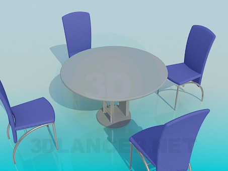 3d model Table with chairs in the cafe - preview